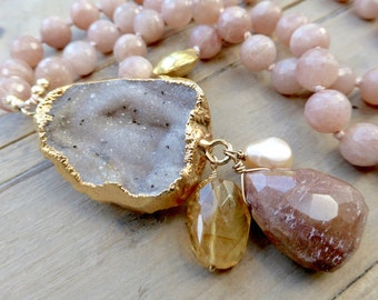 Long Boho Gypsy Chic Peach Sunstone & Druzy Peach Ornaments Necklace