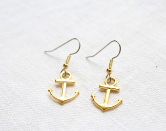Dangling earrings. 'Golden Anchors' - anchors