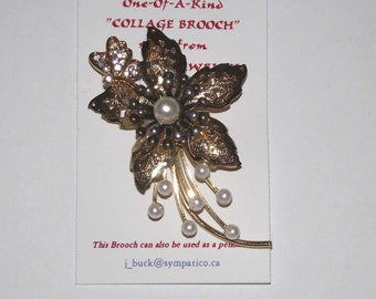 Flower Butterfly theme,  1-of-a-kind Collage Brooch and/or Pendant made with vintage jewelry. . Pink Spring Feminine. #207