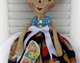 Primitive Raggedy Ann Doll Retro, Valentine Macy