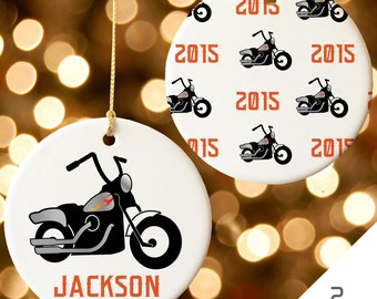 Personalized Motorcycle Christmas Ornament | Custom Motorcycle Christmas Ornament | Chopper Bike Christmas Ornament