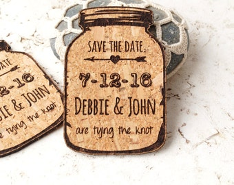 Save-the-date magnets, rustic wedding save the dates, cork save the date magnets, mason jar magnets, cork save the dates