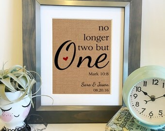 No longer two but one | Personalized Wedding Burlap Print | Love Quote | Mark 10 8 Bible Scripture | Anniversary Print | Frame not included