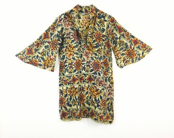 Floral Bell Sleeves 70s INDIAN block print Tunic Dress BOHO Hippie dress 1970s DEADSTOCK India festival dress Bohemian dress Size S Small