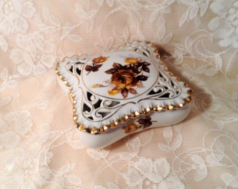 Fine China Square Box with Brown & Yellow Flowers and Gold Trim - Jewelry, Trinket, or Gift Box