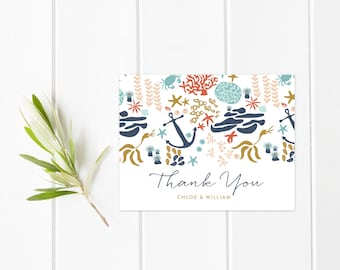 Anchor Wedding Thank You Cards, Personalized Wedding Note Cards, Beach Wedding