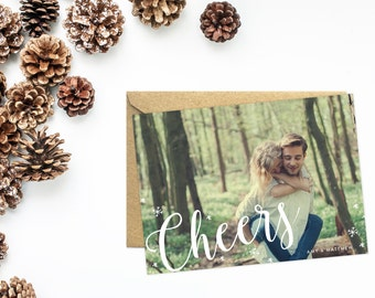 Holiday Card, Photo Card, Cheers in Modern Calligraphy, Snowflake Cards