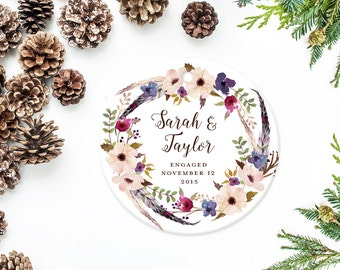 Engagement Christmas Ornament, Personalized Ornament, Engagement Date Ornament with Flower and Feather Wreath