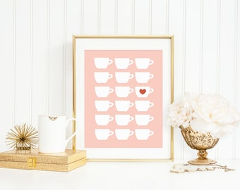 Tea Print, Teacup Art Print, Modern Teacups with Pink Background, Tea Gift