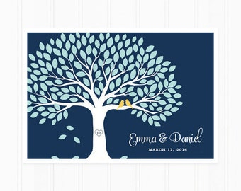 Guest Book Tree - Guest Book Alternative for 150 Guest Signatures - Navy Blue Wedding Guestbook