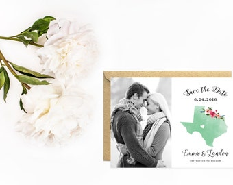 State Save The Date, Texas Save The Date with Photo, Watercolor State with Flowers and Heart
