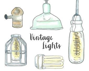 Vintage Lightbulb Clipart // Edison Bulb Clipart