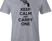 Keep Calm and Carry One - Gun Rights TShirt - American Apparel Mens Poly Cotton T Shirt - Item 1764