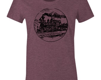 Antique Train T Shirt - American Apparel Women's Poly Cotton T-Shirt - Item 2345