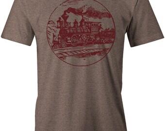 Antique Train T Shirt - American Apparel Men's Poly Cotton T-Shirt - Item 2346