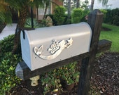 Metal Mermaid with Starfish Mailbox Flag, Aluminum, Will not rust, brushed finish, individually hand made,