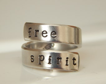 Free Spirit  Twist Aluminum Ring Peace and Love Ring