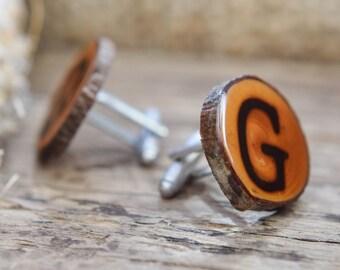 Mens wooden cufflinks, personalized cufflinks, groomsmen gifts, wedding cufflinks, wood cufflinks, gift for men