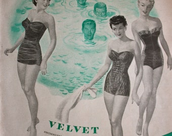 1950 Ad Cole of California Velvet Swimsuit 1950's Fashion creepy guys in water Vintage Print Ad
