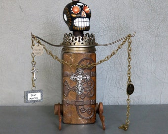 """Day of the Dead sculpture.  One of a kind.  Peruvian sugar skull, vintage tin, found objects.  """"Dia de los Muertos."""""""