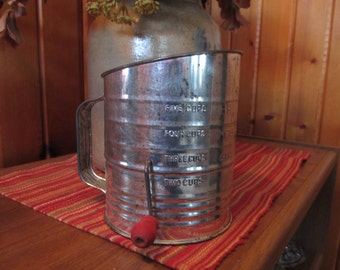 Vintage BROMWELL 5 Cup FLOUR SIFTER with Red Wooden Handle