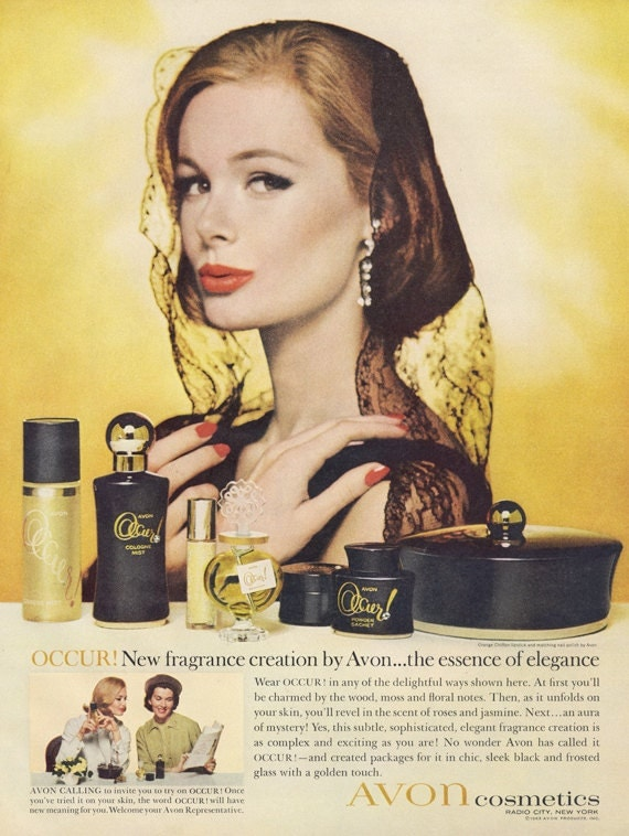1960s Avon Cosmetics Occur Fragrance Ad Vintage Perfume