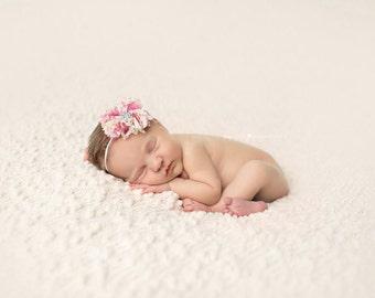Flower Headband, Pink Flower Headband, Pink Flower, Shabby Chic Flower, Headband, Baby Headband, Newborn Headband, Photography Prop