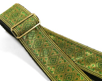 Green Emerald Diamond Pattern with Golden Yarn Handmade Guitar Strap by Pailin Straps P5700G4