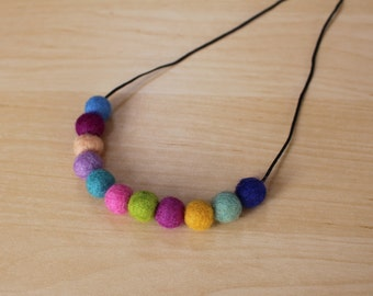 Felt Ball Necklace // Rainbow
