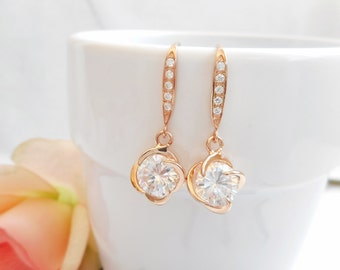Rose Gold Cubic Zirconia Rosette Earrings  Unique Rose Gold Rosette Bridal Earrings Bridesmaid Earrings Bridesmaid Gift FREE US Ship
