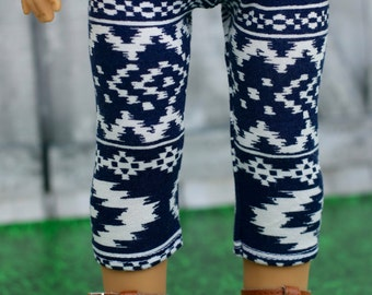 """18"""" Doll Clothes   Navy White Print Cropped LEGGINGS for 18 Inch Doll such as American Girl Doll"""