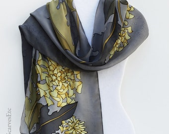 Gray yellow silk scarf, Hand painted chrysanthemums, Fall silk scarf, Yellow gray gold floral scarf, Artist painted silk scarf, Gift for her