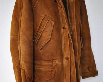 Vintage M . FLUES  original shearling leather jacket....(112)