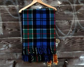 Vintage Blue & Green Tartan Plaid Wool Throw Blanket