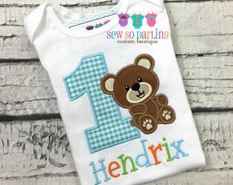 1st Birthday Bear Shirt - Teddy Bear Birthday Shirt - Baby Boy Bear Birthday Outfit - Birthday shirt - blue orange green