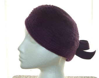 Vintage 1960s Purple Felt Hat by BERMONA - Size Small (55cm) - Made in England