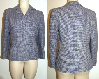 1940s Jacket / 40's / Hand Loomed / Blazer / Blue / Taupe / Houndstooth / WWII era / Vintage / womens
