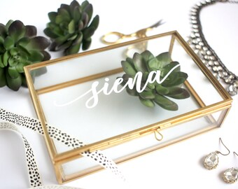 Personalized Glass Box Personalized Jewelry Box / Bridesmaid Gift / Personalized Gift / Maid of Honor / jewelry storage/ Birthday