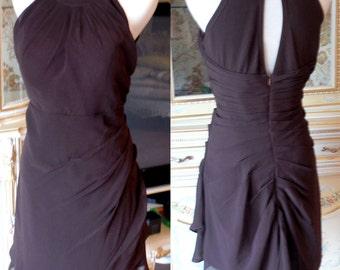 Brown bridesmaid dress, Maternity bridesmaid dress, short chiffon bridesmaid dress