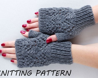 Fingerless mittens knitting pattern, women mitts knitting pattern, instant download knitting pattern, wrist warmer knitting pattern
