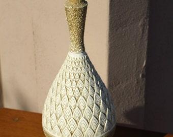Mid century gold and cream ceramic artichoke table lamp