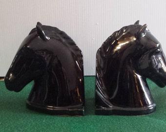Vintage Black Ceramic Horse Bookends 1940s   D808