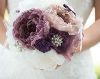 Custom Eggplant Brooch Bouquet, Purple Fabric Flower Bouquet, Tulle Lace, Alternative Wedding Bouquet, Bridesmaid Bouquet - 8 inch Bouquet