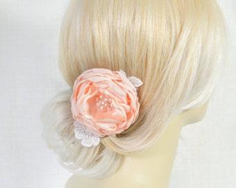 Peach Hair Flower Clip - Bridal Hair Flower - Peach Wedding Hair Piece - Wedding Hair Flower -  Bridal Hair Accessories