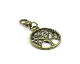 Tree of Life Zipper Pull Purse Charm Bronze Clip On Charms