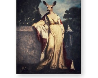 "Woodland Wall Art, Whitetail Deer Doe, Archival Renaissance Art Print, Altered Art, (3 Sizes Available) ""Queenly Doe"""