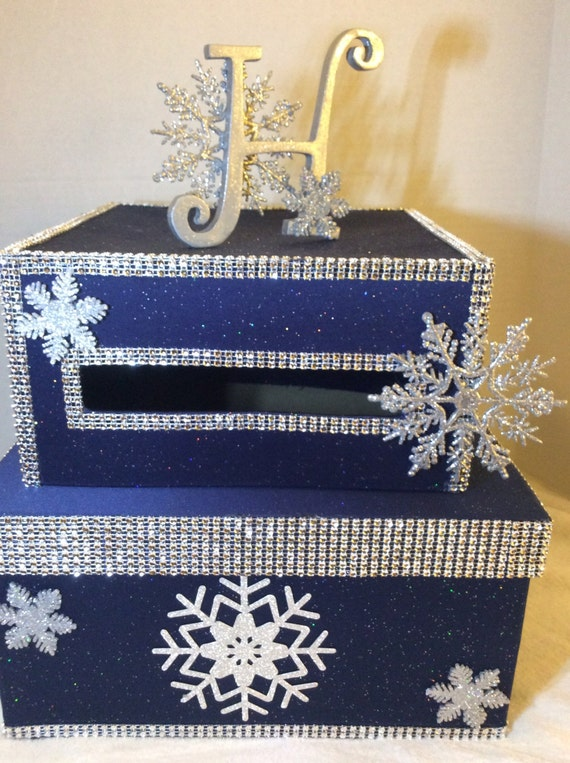 Wedding Card Box/Wedding Gift Card Box/Card Box/Envelope holder/navy ...