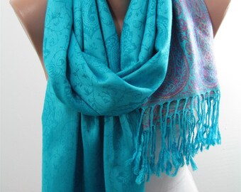Silk blend Pashmina Scarf Fall Winter Fashion Scarf Turquoise Scarf Wedding Shawl Scarf Wrap Women Fashion Accessory Christmas Gifts For Her