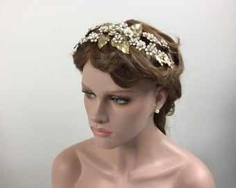 Pink pearl blossom bridal headpiece - Pink floral flowers with Pearl centres & gold leaves on branches wedding hairpiece highly detailed