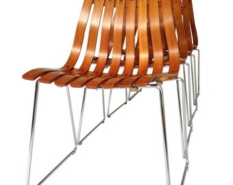 Four Teak Scandia Dining Chairs Designed by Hans Brattrud Midcentury Danish